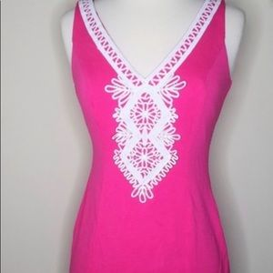 Eliza J hot pink dress with embroidery design